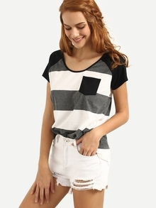 Multicolor Striped Short Sleeve T-shirt