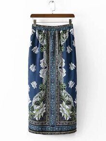 Multicolor Elastic Waist Printed Split Side Skirt