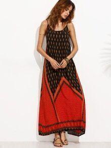 Color Block Print Backless Cami Dress