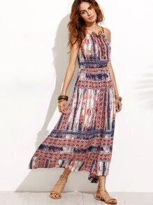 Tribal Print Lace Up Slip Dress