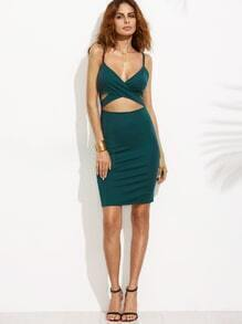 Dark Green Spaghetti Strap Cut Out Bodycon Dress
