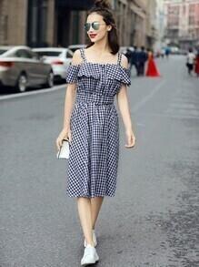 Cold Shoulder Plaid Button Front Belt Dress