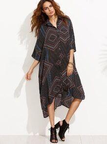 Black Print High Low Shift Shirt Dress