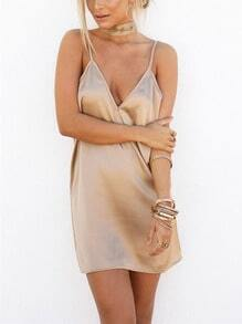 Apricot Deep V Neck Open Back Satin Cami Dress