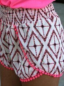 White Geo Print Shirred Waist Pom Pom Wrap Shorts