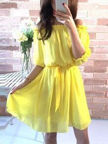 Yellow Self Tie Off The Shoulder Chiffon Dress