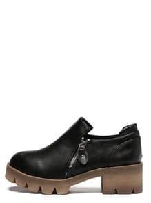 Black Non-slip Round Toe Zipper Side Wedges