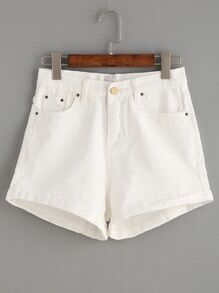 White Cuffed Denim Shorts