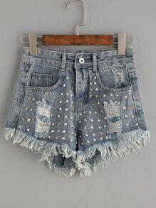 Blue Studded Ripped Frayed Denim Shorts
