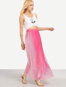 Colored Vertical Stripe Long Skirt
