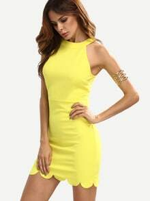 Yellow Mock Neck Sleeveless Bodycon Dress