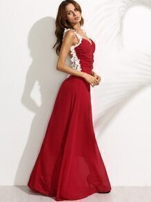 Red Flower Applique Mesh Back Ruched Chiffon Gown