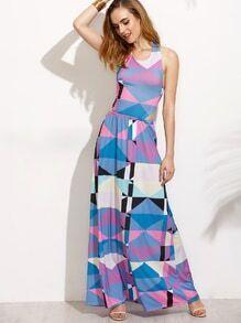 Blue Geometric Print Cutout Tie Back Maxi Dress