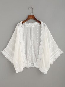 White Fringe Crochet Trim Embroidered Kimono