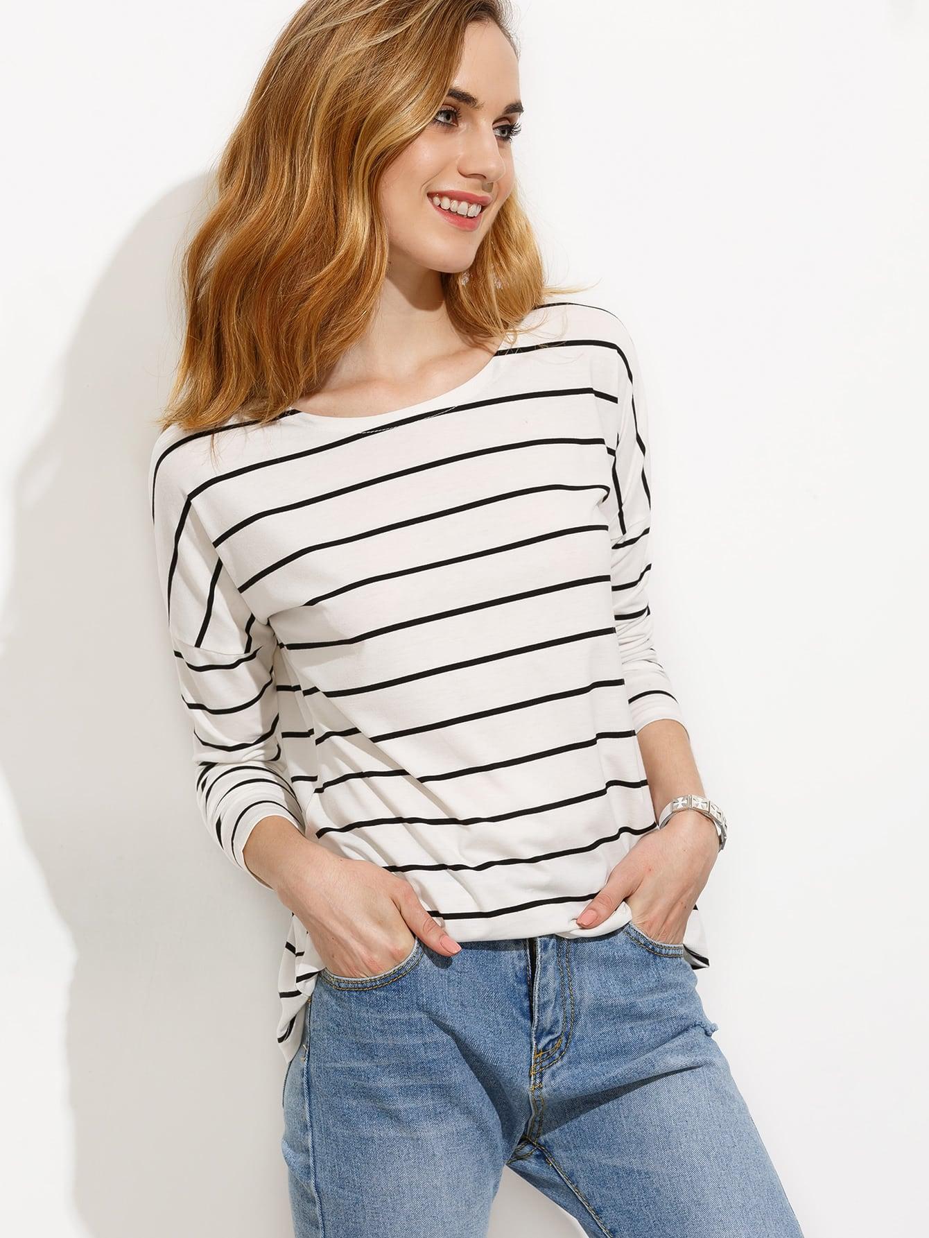 White Striped Drop Shoulder T-shirt, Black and white – купить по цене 9.95 руб. в romwe.com | imall.com