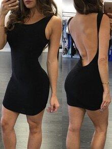 Black Backless Shirred Bodycon Dress
