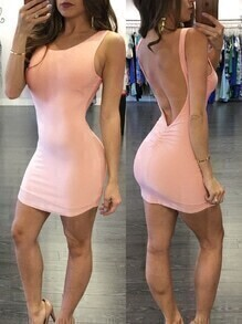 Pink Backless Shirred Bodycon Dress