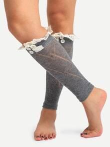 Medias encaje tejidas - gris