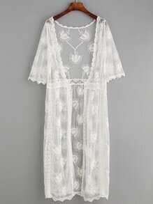 White Scalloped Embroidered Mesh Longline Kimono