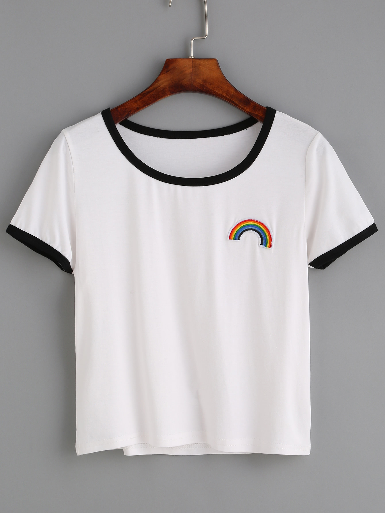 white contrast trim rainbow embroidered t shirtfor women romwe. Black Bedroom Furniture Sets. Home Design Ideas