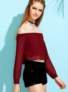 Burgundy Button Cuff Layered Off The Shoulder Top