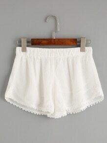 White Crochet Trim Elastic Waist Crinkle Shorts