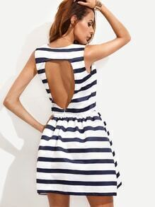 Navy Striped Cut Out Back Flare Dress