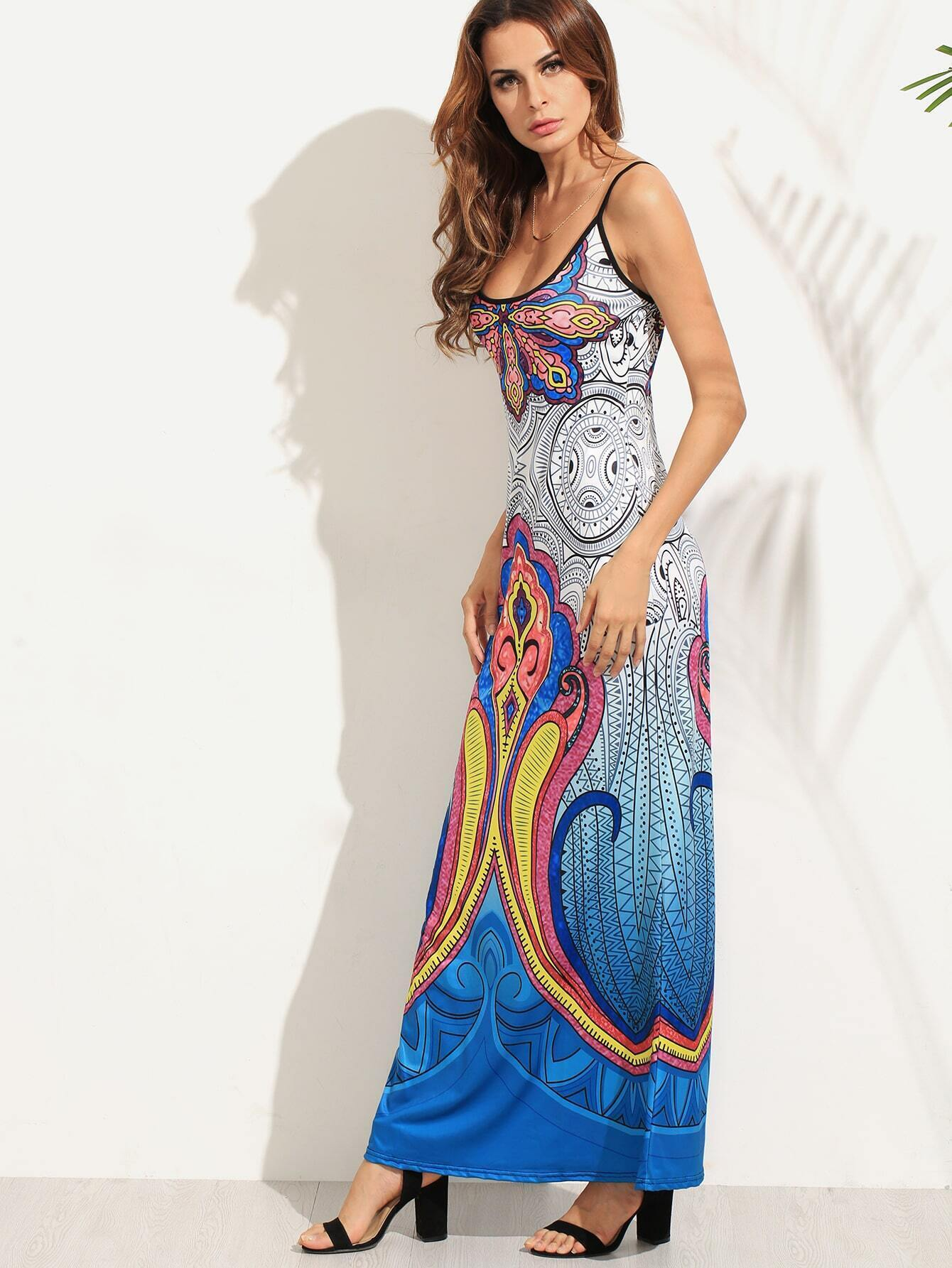 robe longue bretelle motif tribal bleu french romwe. Black Bedroom Furniture Sets. Home Design Ideas