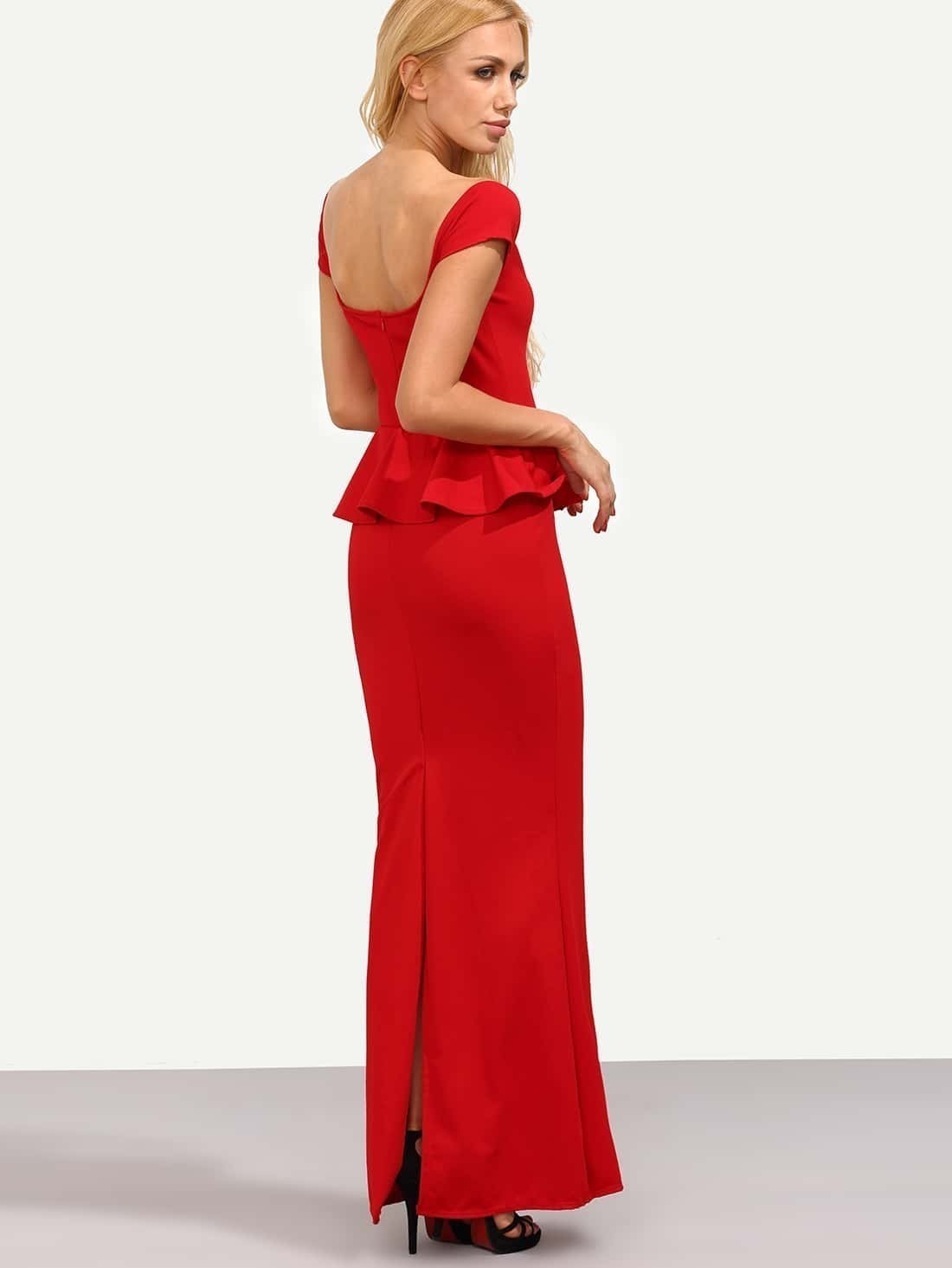 Robe fendue paule d nud e rouge french romwe for Interieur paupiere inferieure rouge