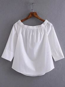 White Off The Shoulder Slim Blouse