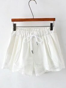 White Drawstring Waist Pocket Shorts