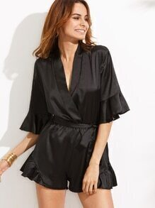 Black V Neck Ruffle Sleeve Wrap Romper