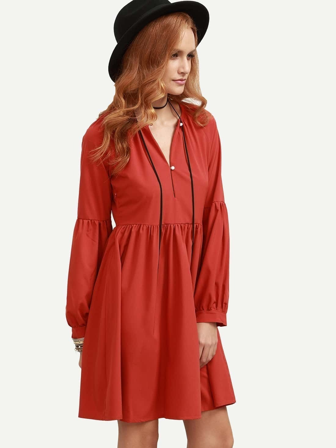 Robe evasee manche bouffante rouge french romwe for Robe rouge évasée