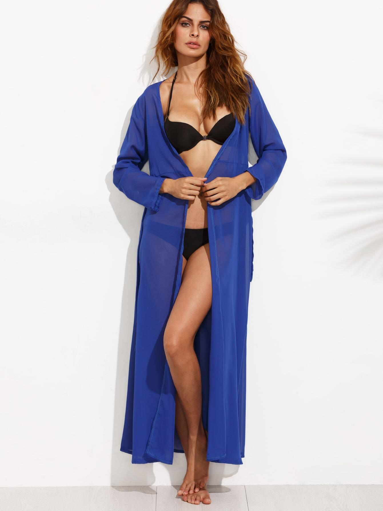 robe de plage col v manche longue bleu french romwe. Black Bedroom Furniture Sets. Home Design Ideas