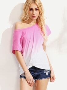 Ombre Round Neck Asymmetrical T-shirt