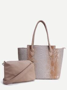 Apricot Snake Embossed Tote Bag With Crossbody Bag