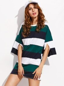 Color Block Drop Shoulder Slit Sleeve T-shirt Dress