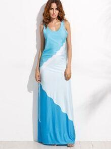 Color Block Ruched Maxi Tank Dress