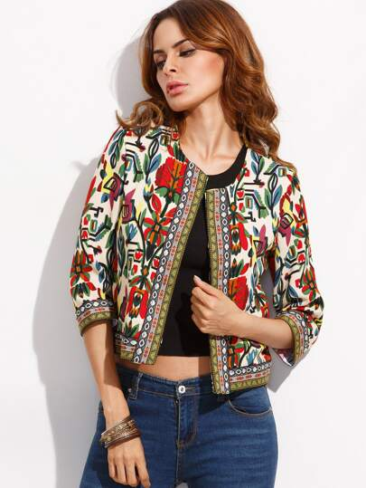 ad91a67b2f Multicolor Tribal Print Outerwear With Embroidered Tape Detail