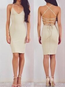 Apricot Lace Up Cami Sheath Dress