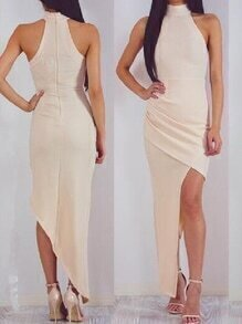Apricot Halter Neck Ruched Asymmetric Wrap Dress
