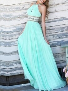 Mint Green Embroidered Keyhole Halter Neck Pleated Dress