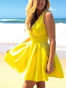 Yellow Scalloped Surplice Front Pleated Skater Dress