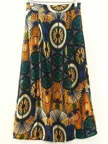 Yellow Vintage Print Double Slit Front Skirt