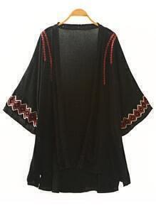 Black Woven Tape Trim Embroidered Kimono