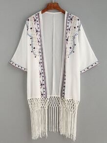 White Knotted Fringe Trim Embroidered Kimono