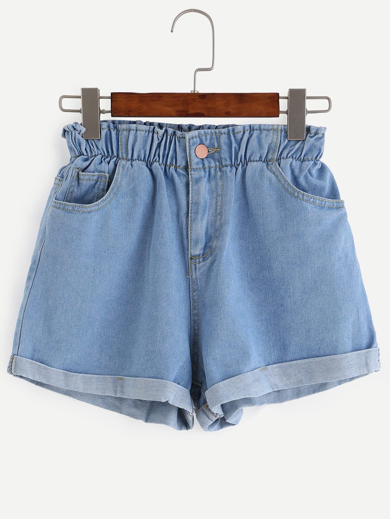 outlet hot sales best shoes Blue Elastic Waist Roll Hem Denim Shorts | ROMWE