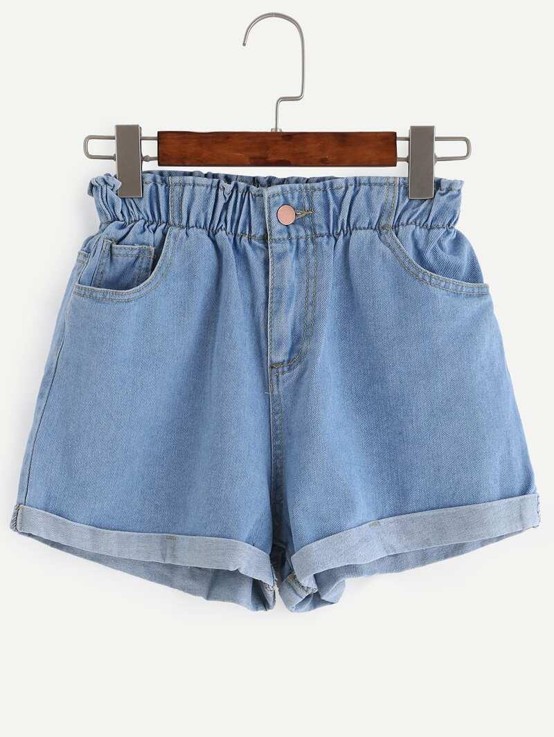 Blue Elastic Waist Roll Hem Denim Shorts by Romwe