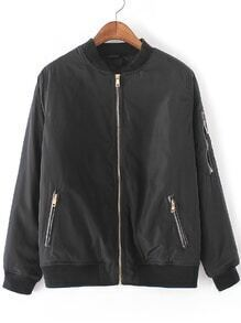 Black Crew Neck Zipper Front Jacket