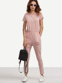 Pink Pocket Short Sleeve Tie Backless Jumpsuit